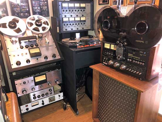 Ampex 351, Teac Tascam Series 70 8 track, Technics RS-1700 and Altec Velencia speaker