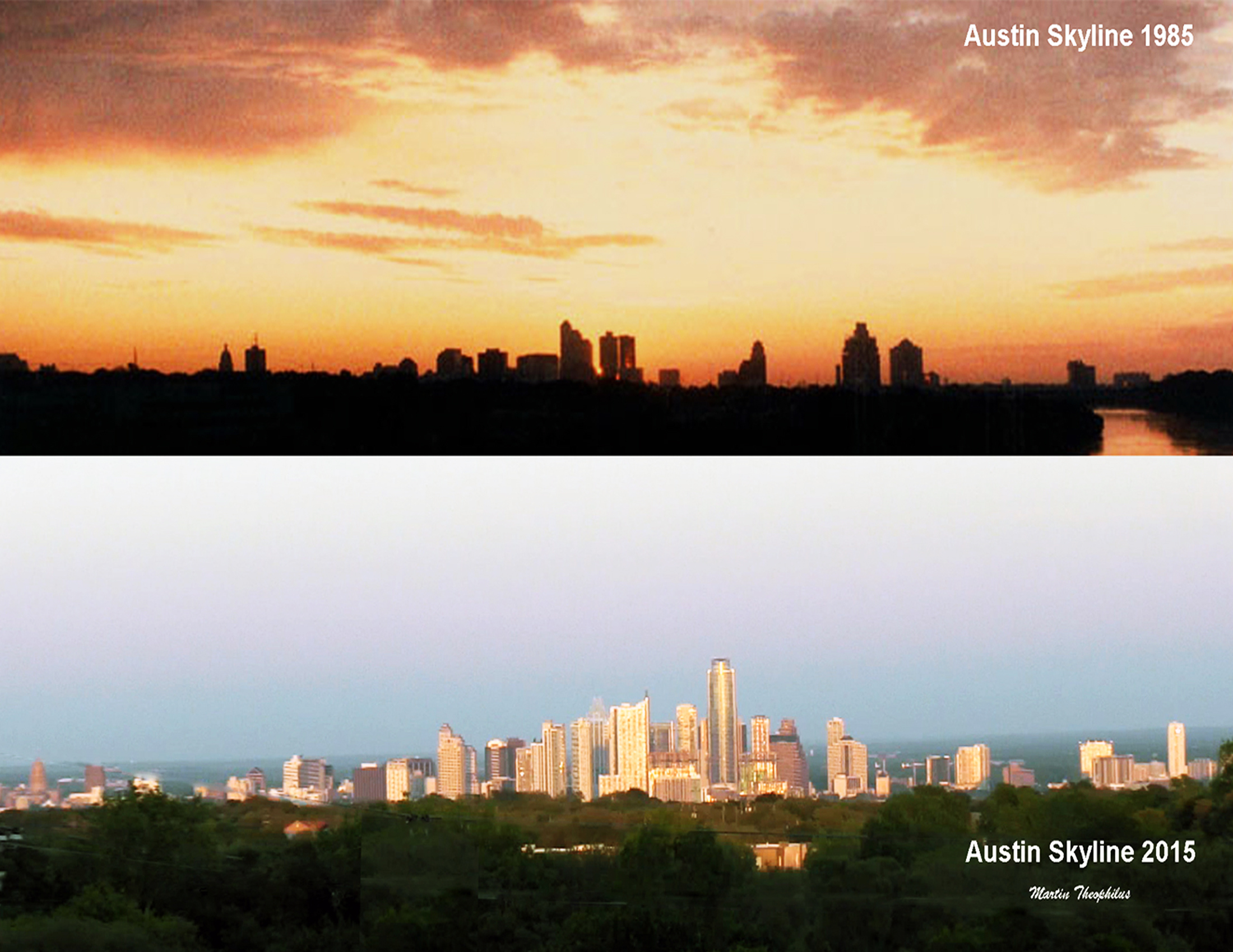 Austin, Texas in 1985 and 2015