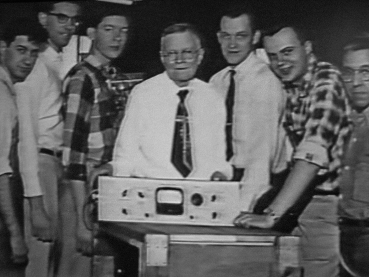 Richard Ranger with his staff and their tape recorder
