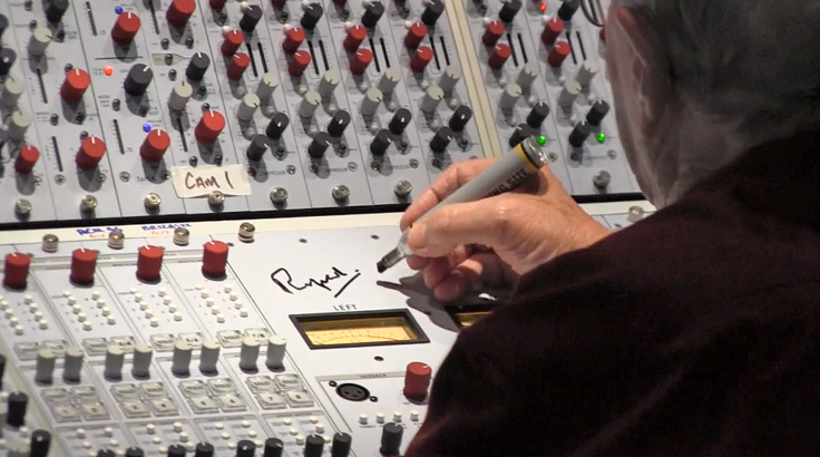 Rupert Neve signing the Neve 5088 console in the Blue Rock Studio